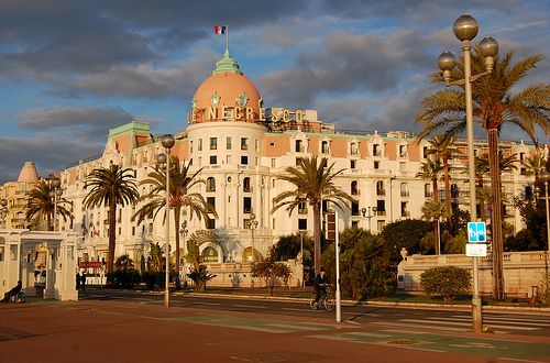 Le Negresco with cyclist, November 2011